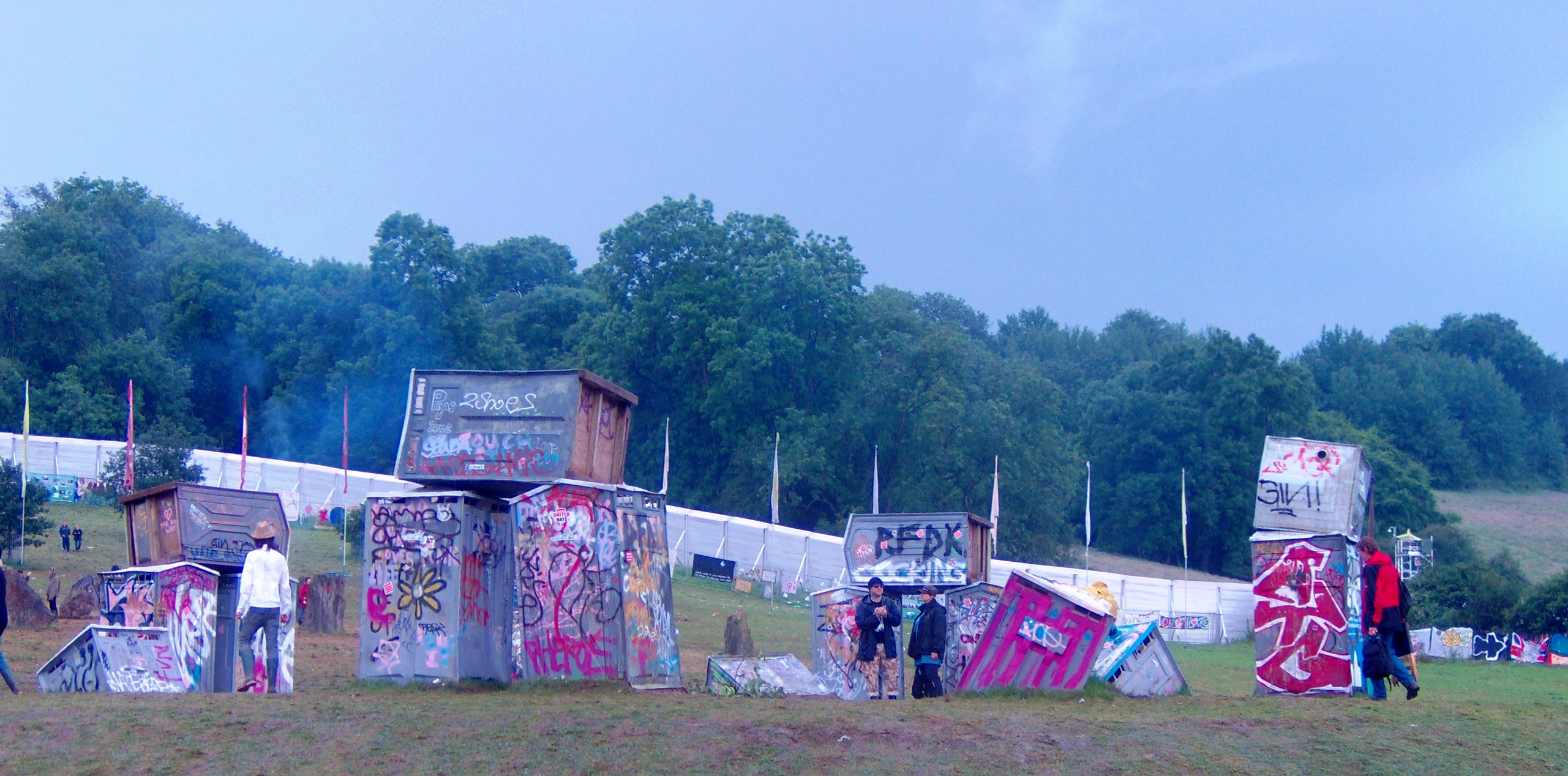 Banky's 'Stonehenge' display using portable toilets at Glastonbury Festival 2007.