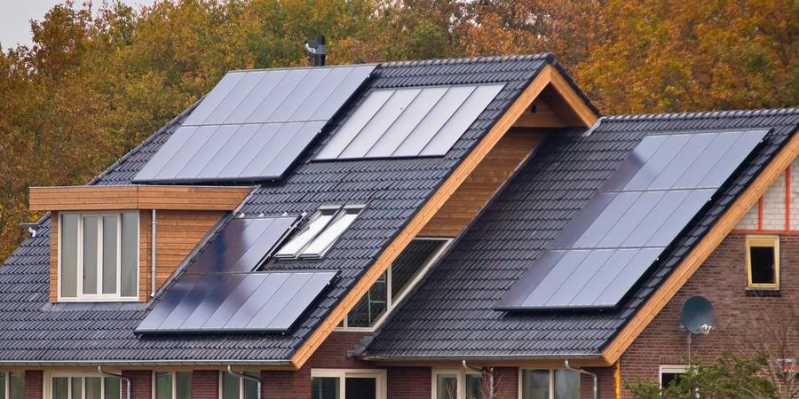 Modern solar panels on a house.