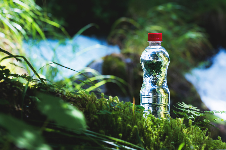 Transparent plastic A bottle of clean water with a red lid stands in the grass and moss on the background of a rugged mountain river. The concept of pure natural drinking water.