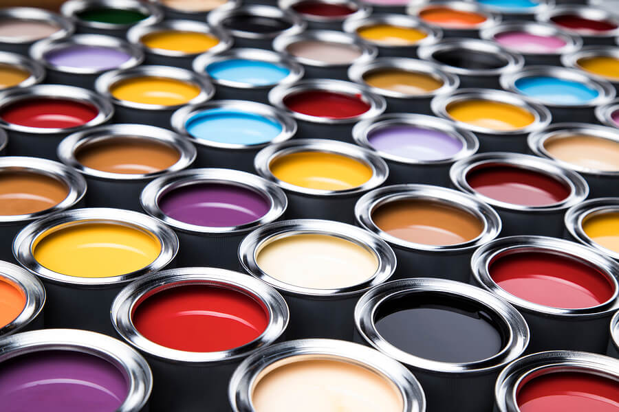 A big picture of open paintcans.