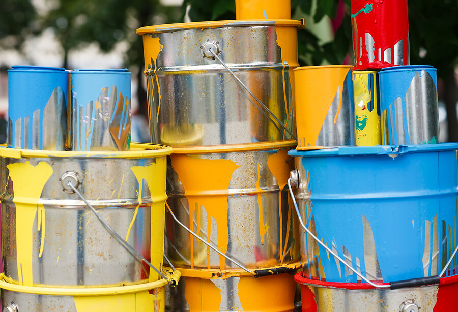 Tins of used paint.
