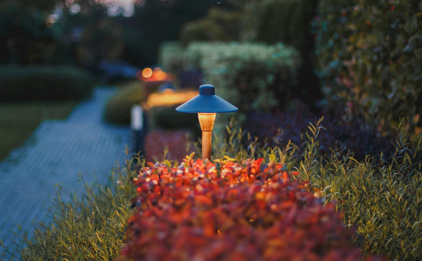 Decorative Small Solar Garden Light, Lanterns In Flower Bed In autumn red Foliage. Garden Design. Solar Powered Lamps